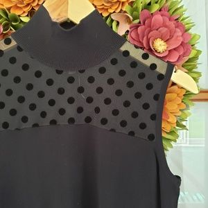 August Silk Mock Turtleneck Polka Dot Tank
